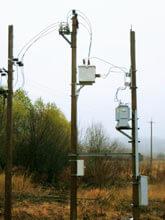 комплексная установка ПСС-10 и трансформаторной подстанции столбового исполнения (ТПС) на границе балансовой принадлежности